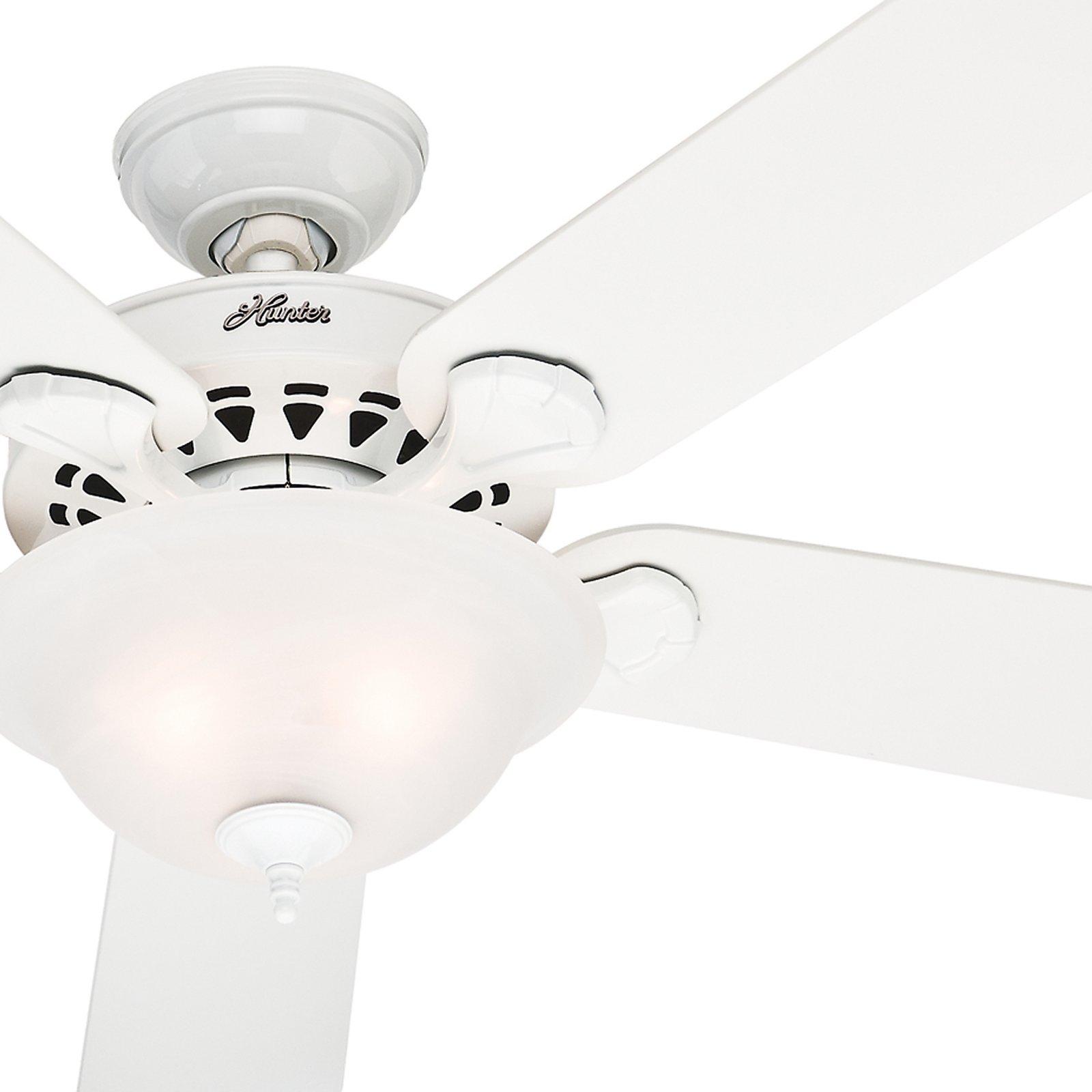 Hunter Fan 52 White Finish Ceiling Fan Ceiling Fan with Frosted Glass Light Kit