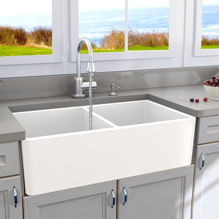 33 Inch Double Bowl Fireclay Farmhouse Sink