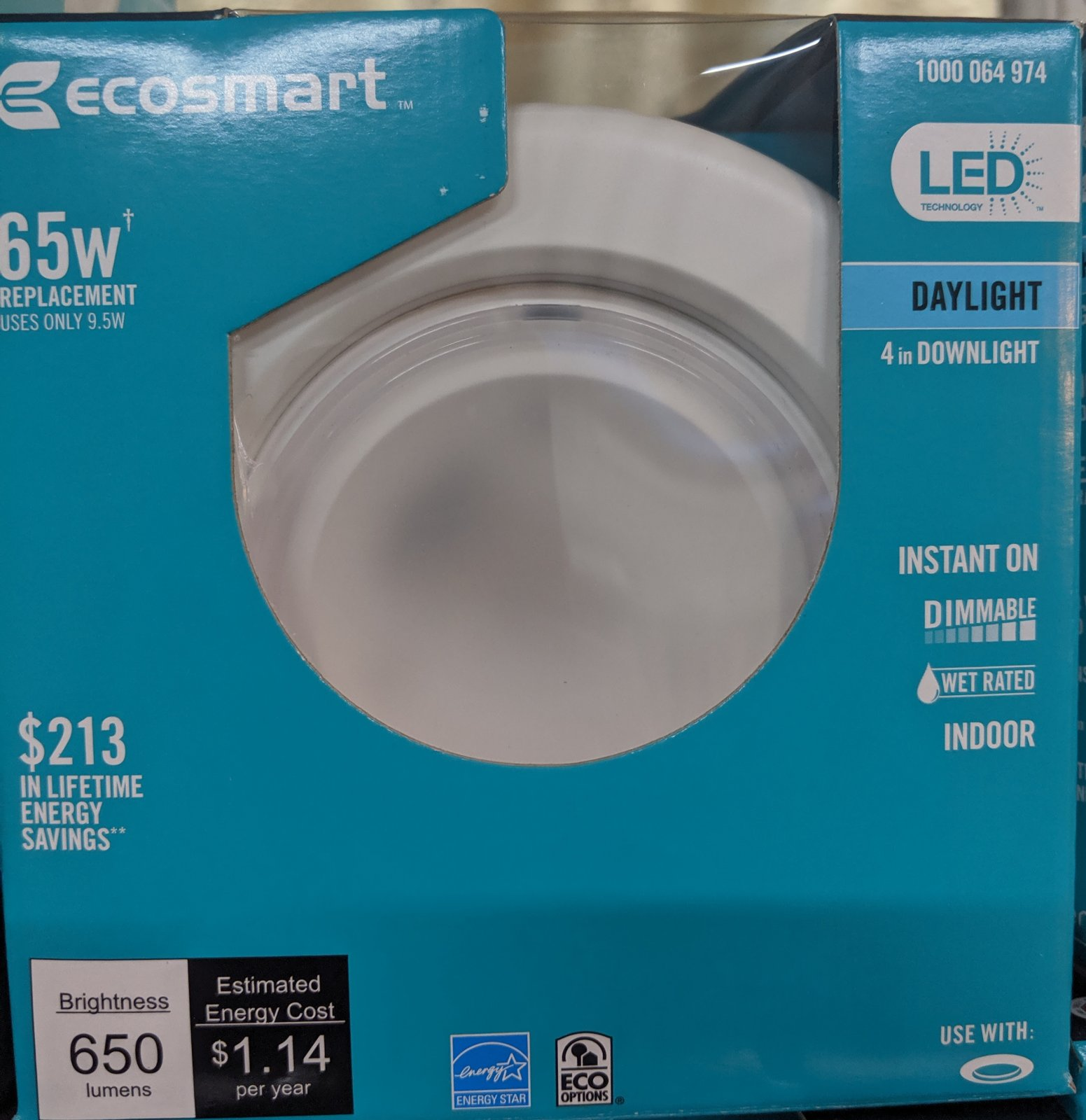 Ecosmart 65Watt Recessed Downlight Daylight Dimmable LED Light