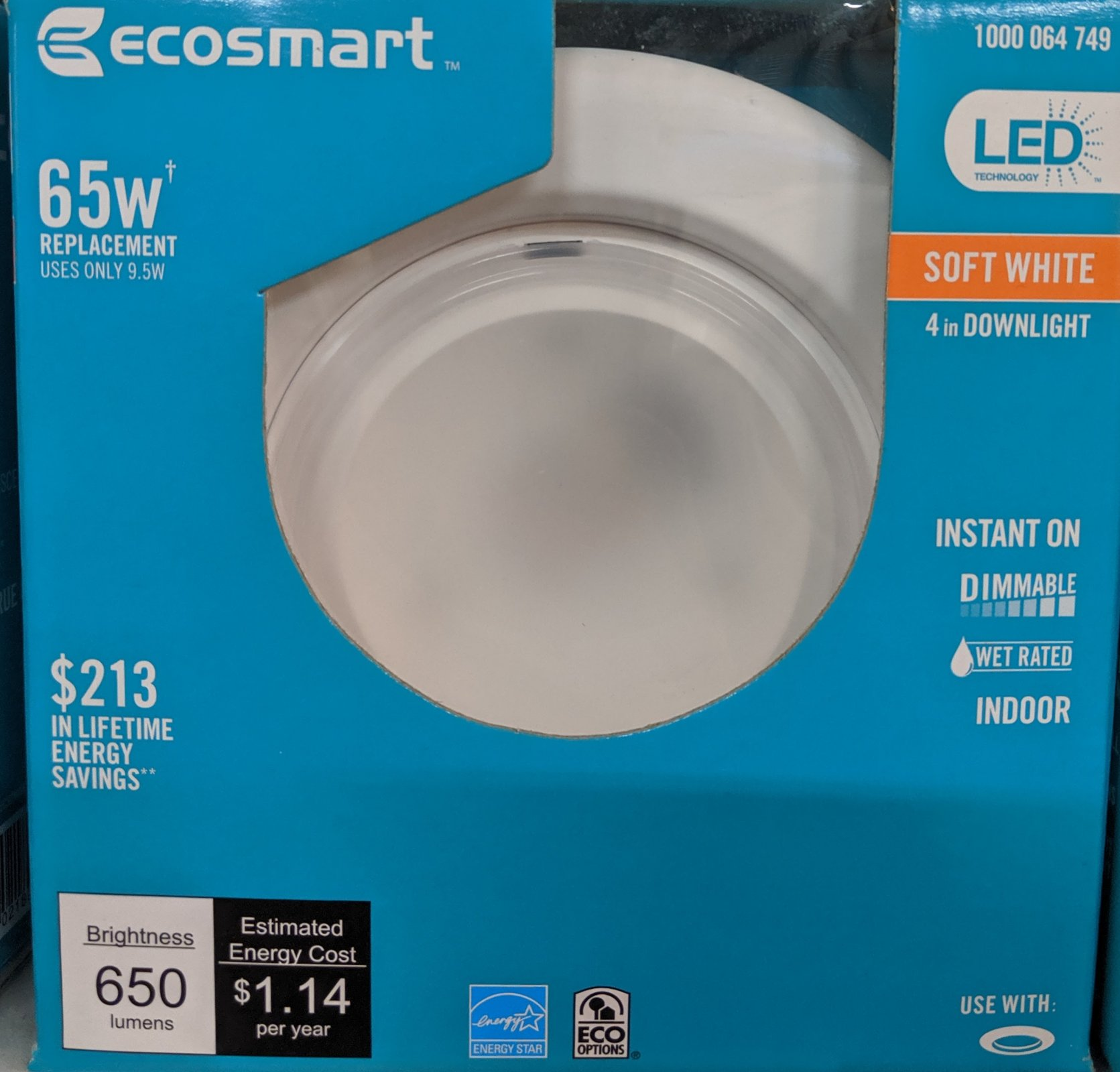 Ecosmart 4 In Soft White Downlight LED 65W Equivalent Dimmable 650 lumens