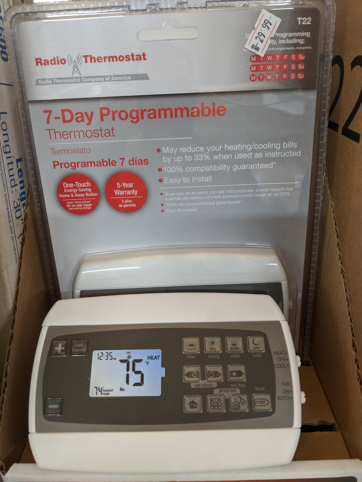Radio Thermostat T22 Digital 7 Day Programmable Thermostat