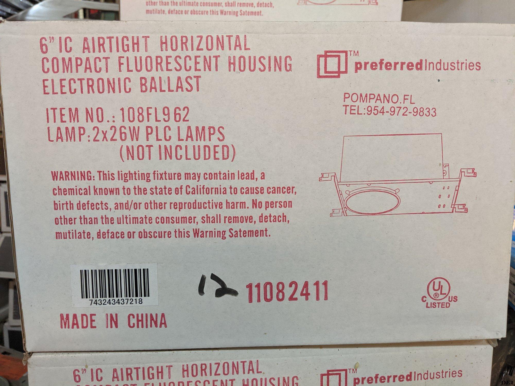 6 IC AIRTIGHT HORIZONTAL COMPACT FLUORESCENT HOUSING