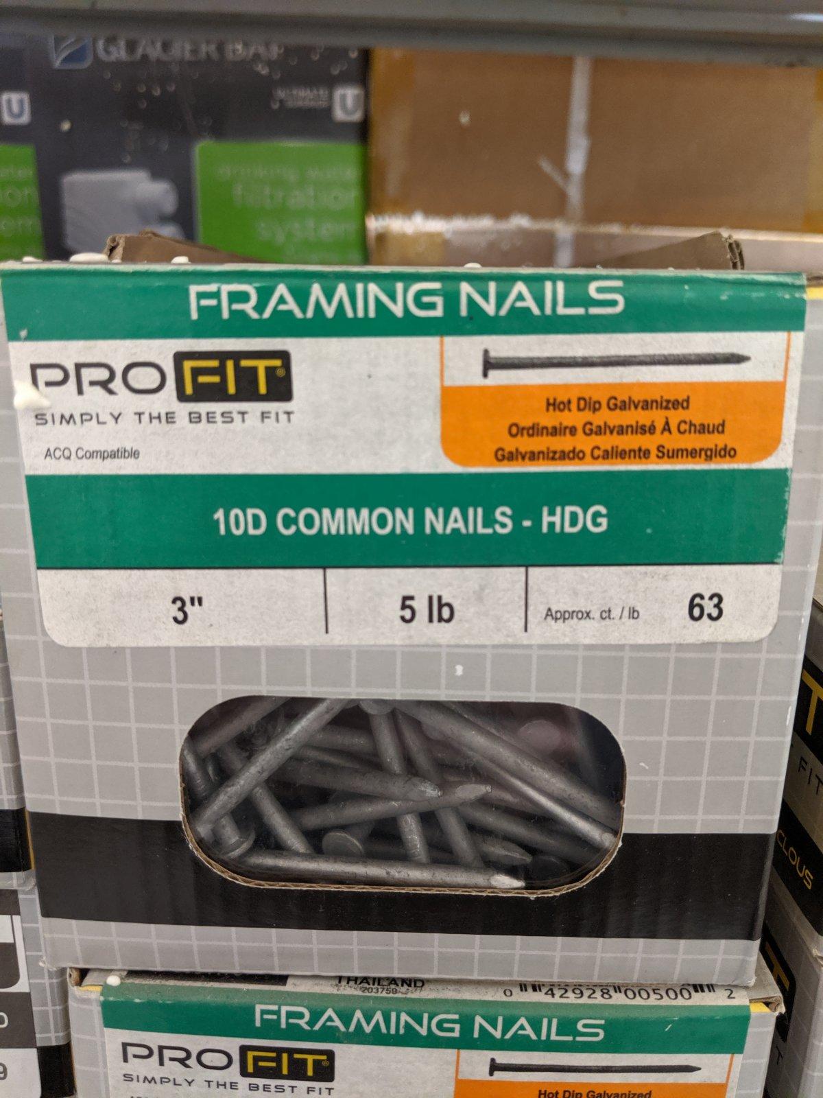 3 10D FRAMING NAILS 5LB