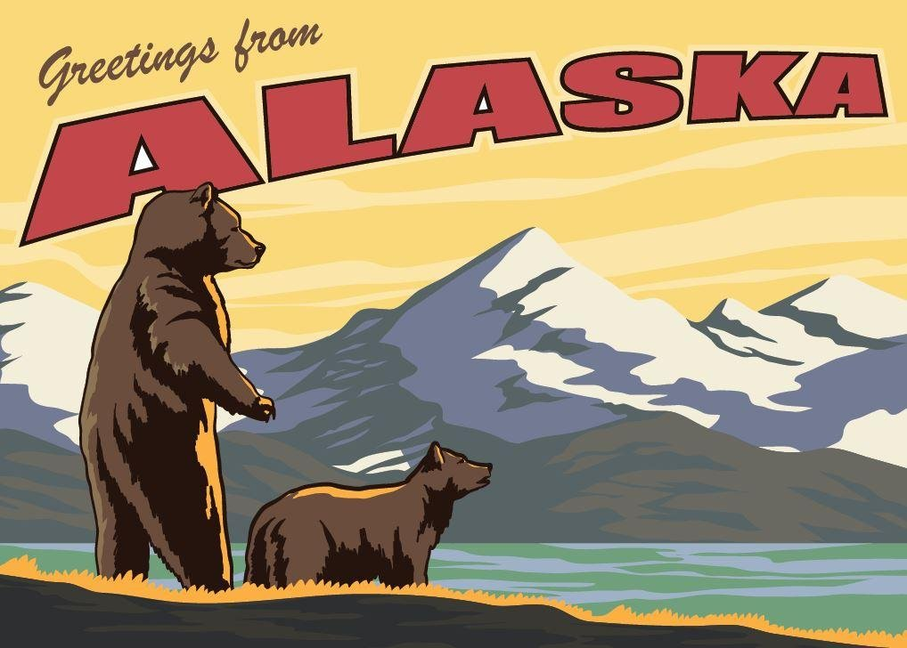 Greetings from Alaska Grizzly Greeting Card