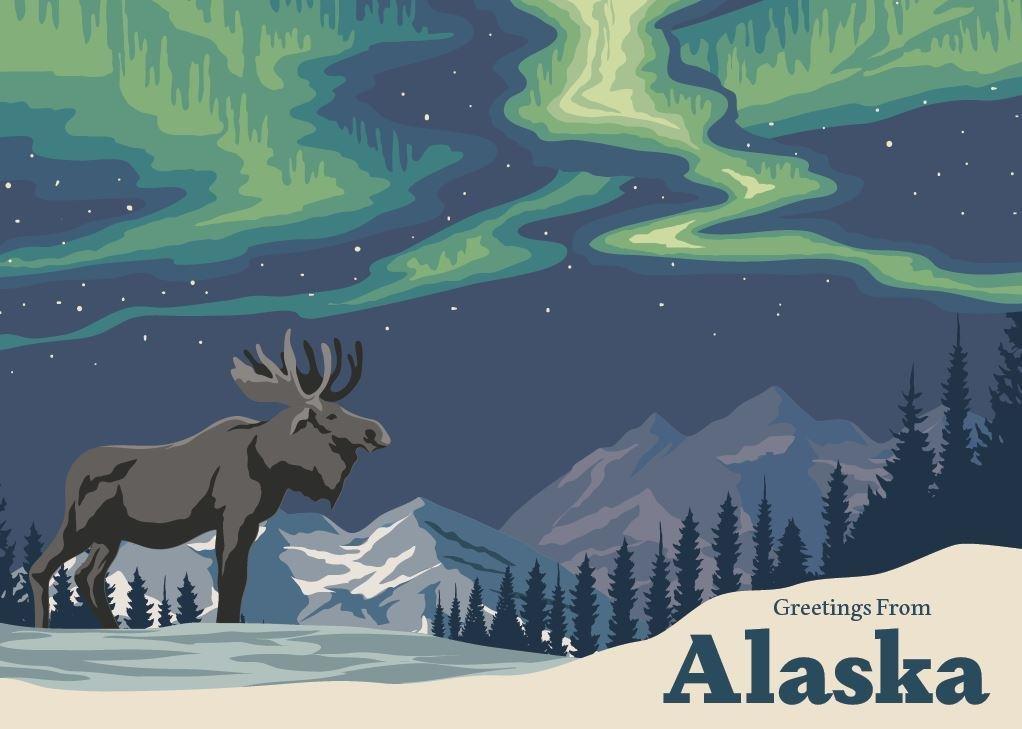 Greetings from Alaska Moose Greeting Card