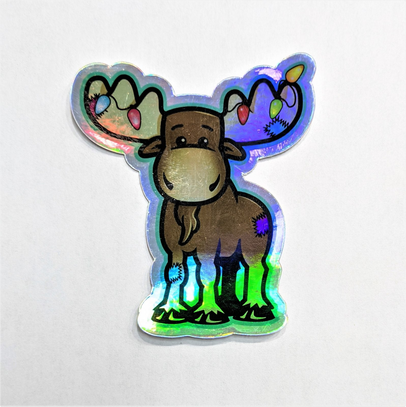 Holographic Christmas Moose Sticker