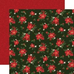 Hello Christmas Double-Sided Cardstock 12X12 Poinsettia Floral