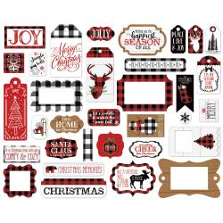 Echo Park Cardstock Ephemera 33/Pkg-Frames & Tags, A Lumberjack Christmas