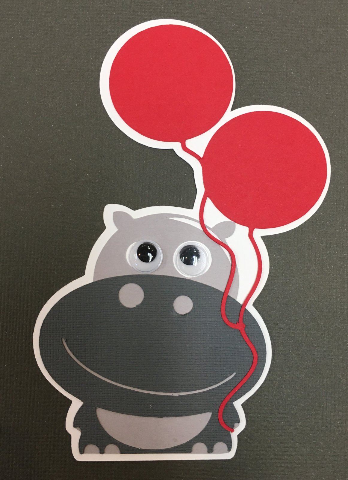 BIRTHDAY HIPPO die cut