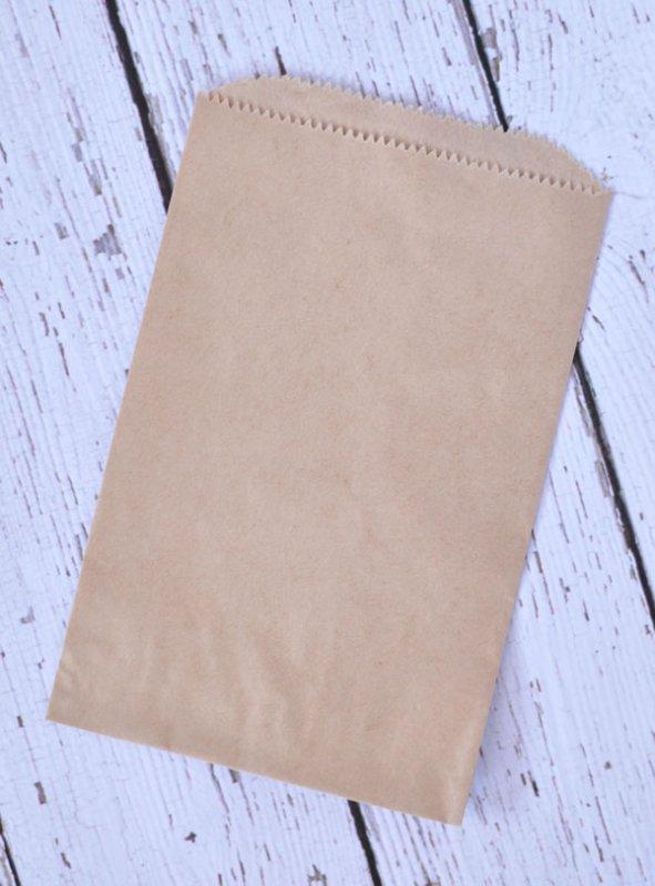 Uline 12491 24 Pack Kraft Flat Merchandise Bag