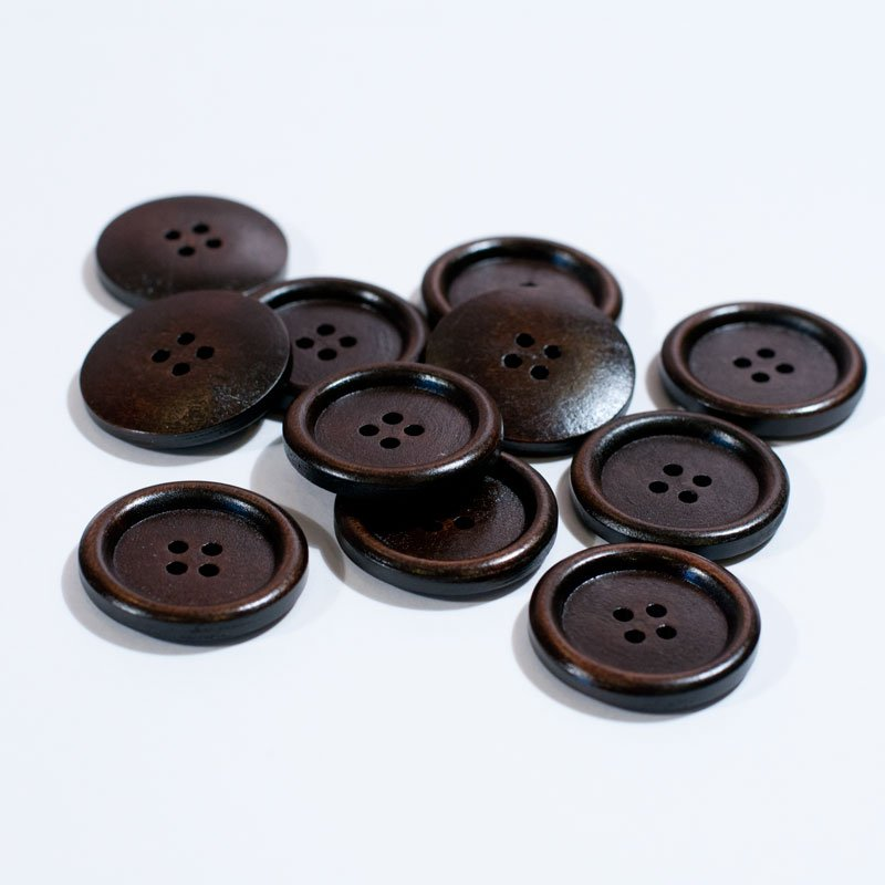 (AE-001) Six Brown Wood 4-Hole Button 1.18 inch