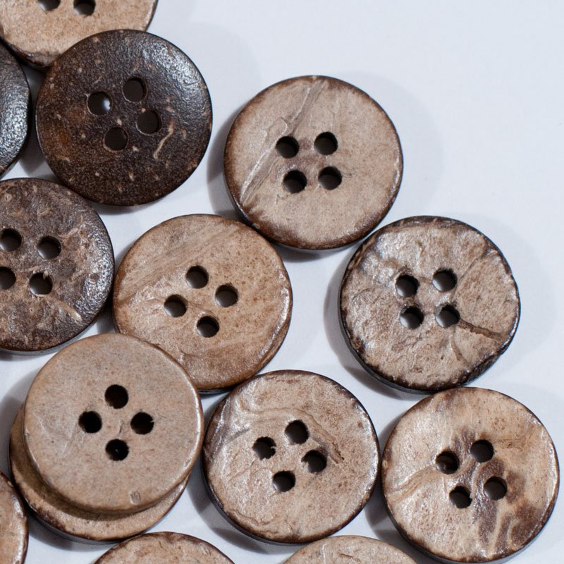 (AE-004)  Pack of 20 Brown Coconut Shell 4 Hole Buttons .59 inch