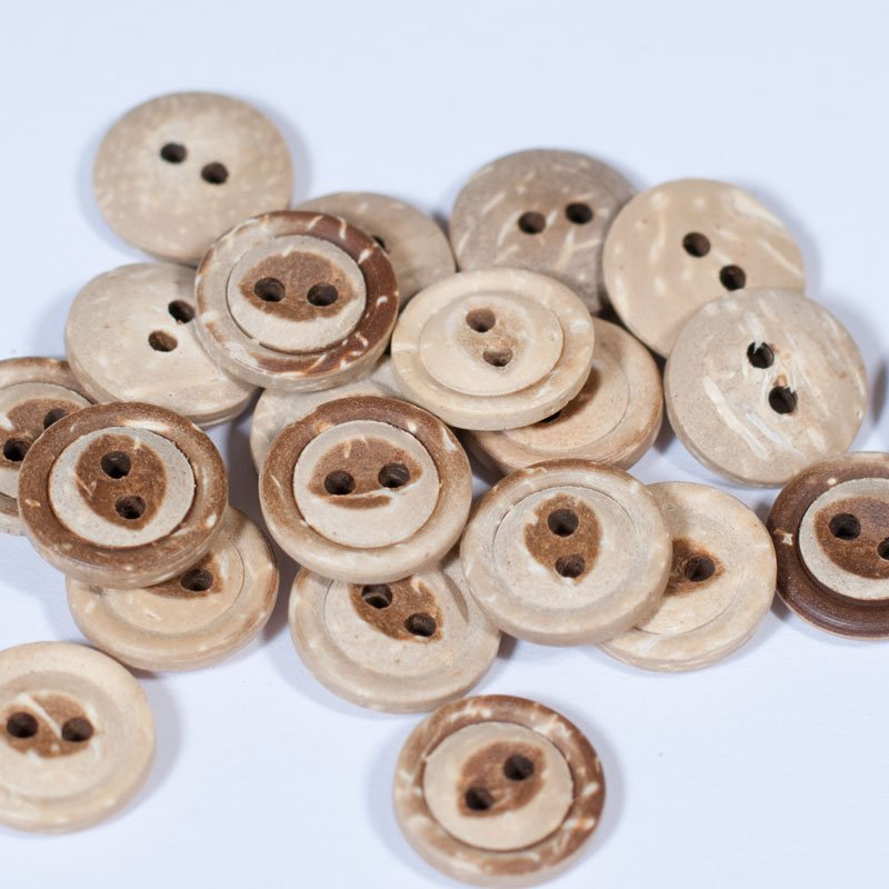 (AE-011)  Pack of 10 Natural Round Coconut 2 Hole Button .7 Inch