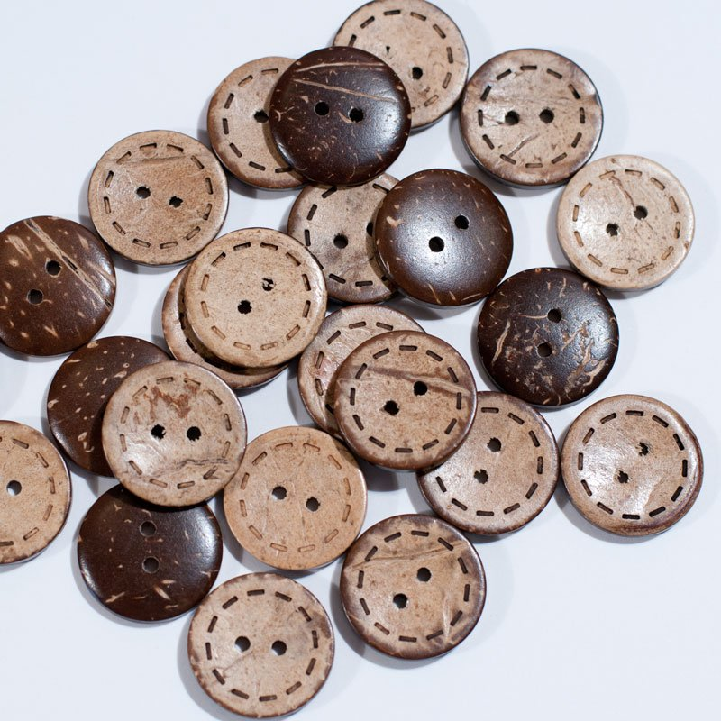 (AE-012)  Pack of 8 Stitched Coconut Buttons .79 inch