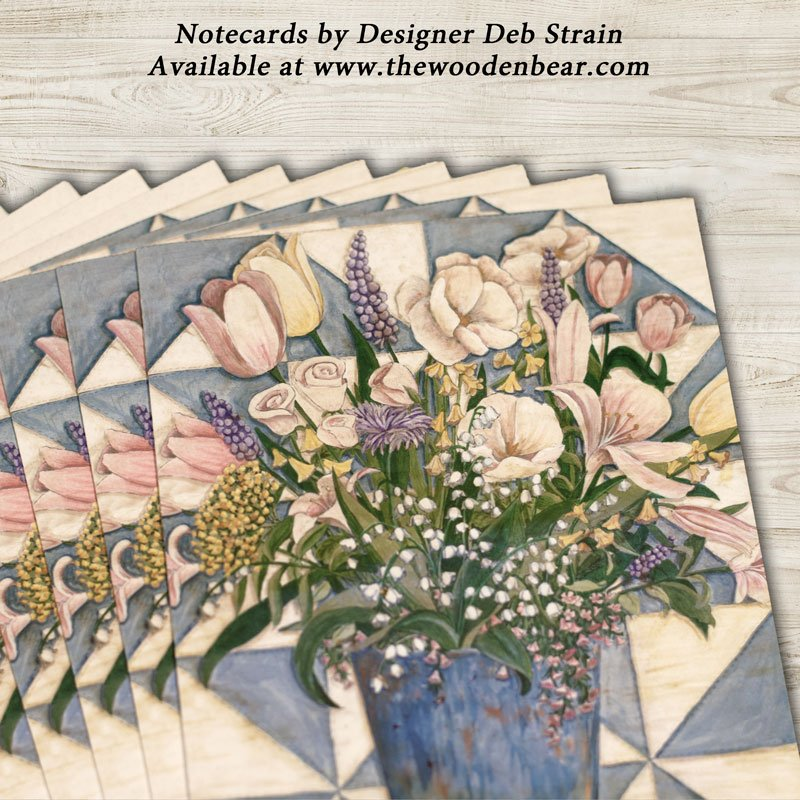 (DS-SN106)   Blue and White Quilt & Flowers Notecards