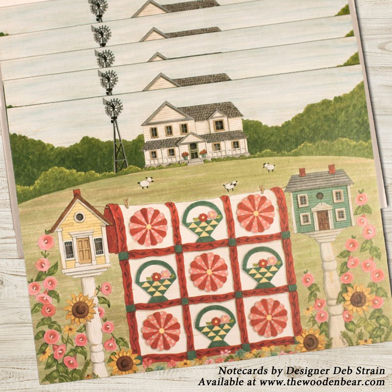 (DS-SN108)   Birdhouses & Quilt Notecards