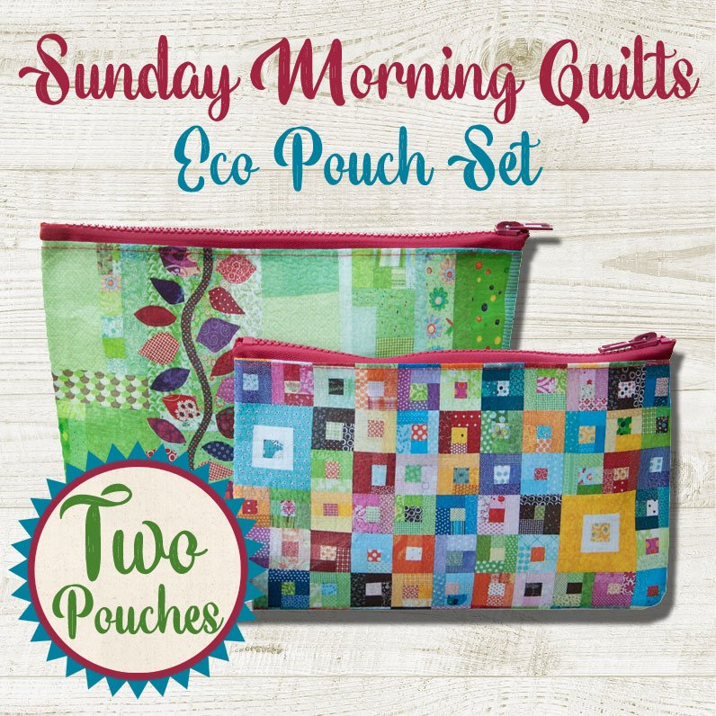 (SQS-20231)   Eco Pouch Set of 2- Sunday Morning Quilts