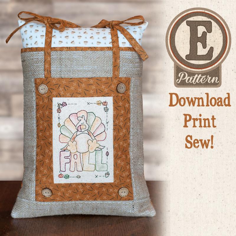 (TWB-EF01)   E-pattern F01 Little Stitcheries Stuffed Turkey Pillow