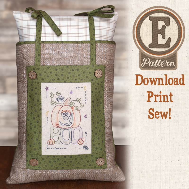 (TWB-EF04)   E-pattern F04 Little Stitcheries Boo to You Pillow