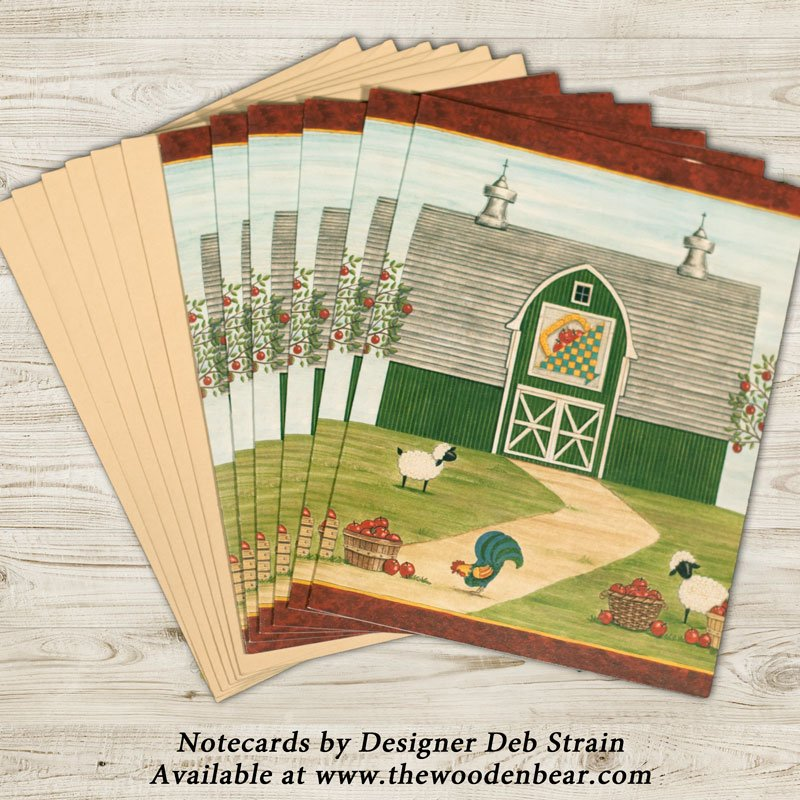 (DS-SN107)   Apple Quilt Barn Notecards