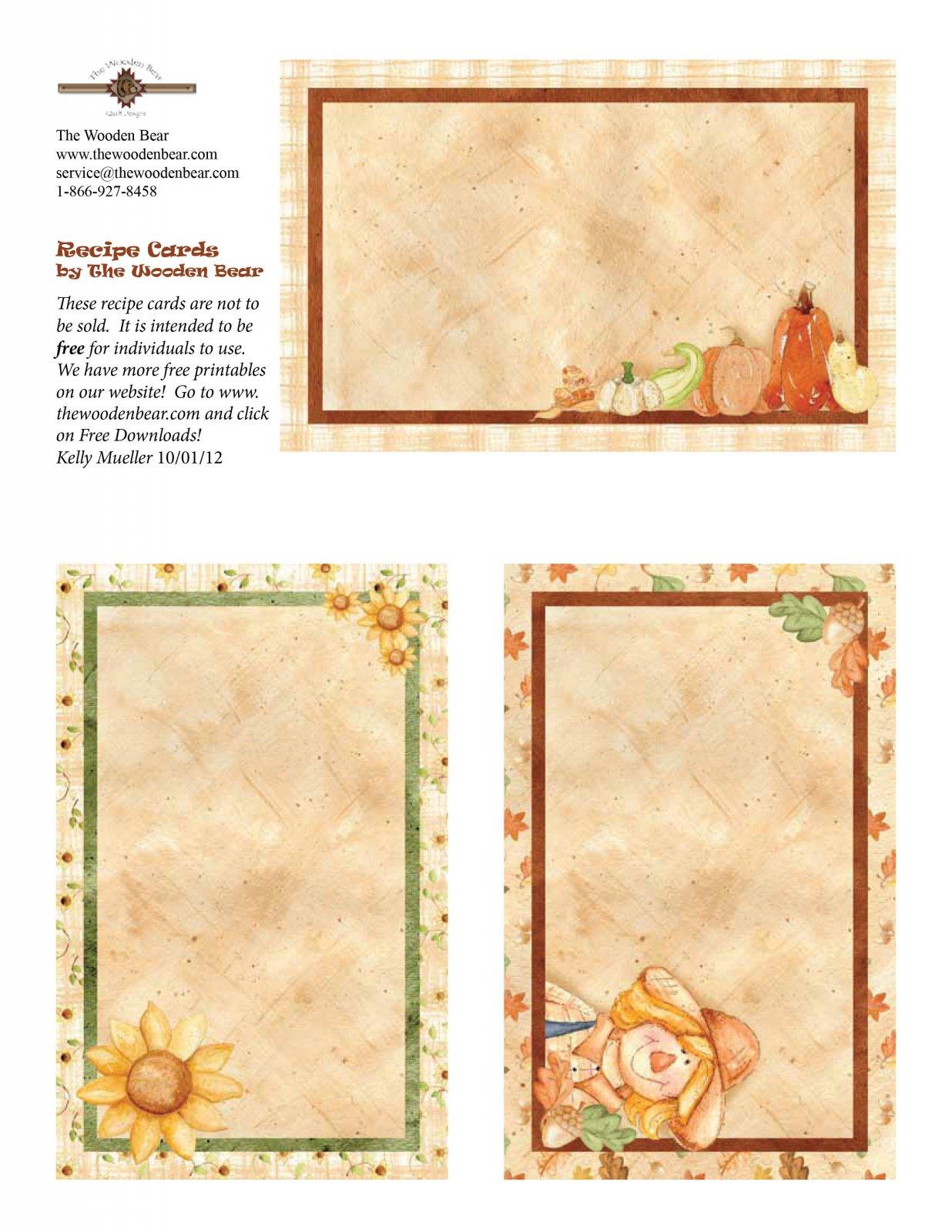 Happy Harvest Recipe Cards