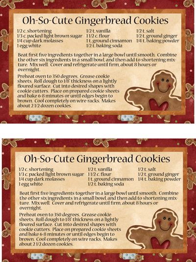 Large Hugs & Holly Gingerbread Cookie Recipe Card