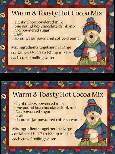 Large Hugs & Holly Polar Bear Cocoa Recipe Card