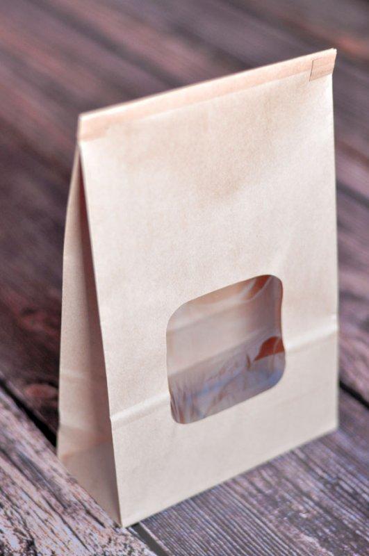 (ULINE-13250 )   10-pack Large Brown Kraft/Gift Bag with Window