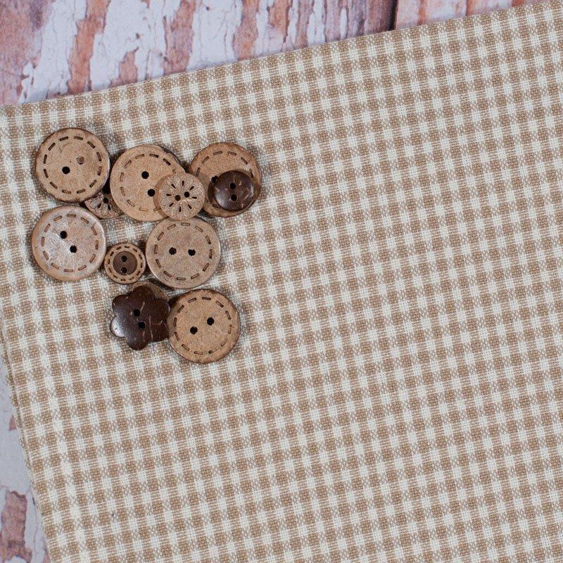 (DUN-805-830)  Tan Minicheck Tea Towel