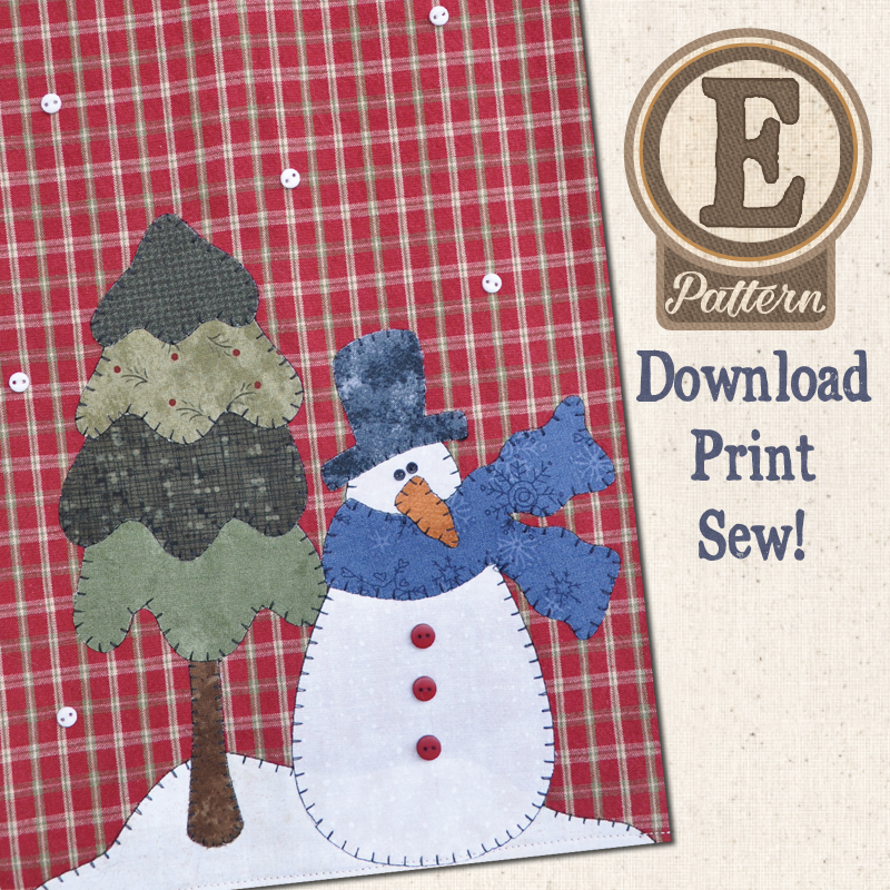 (TWB-EP18)   E-pattern P18 Snowman and Tree Patternlet