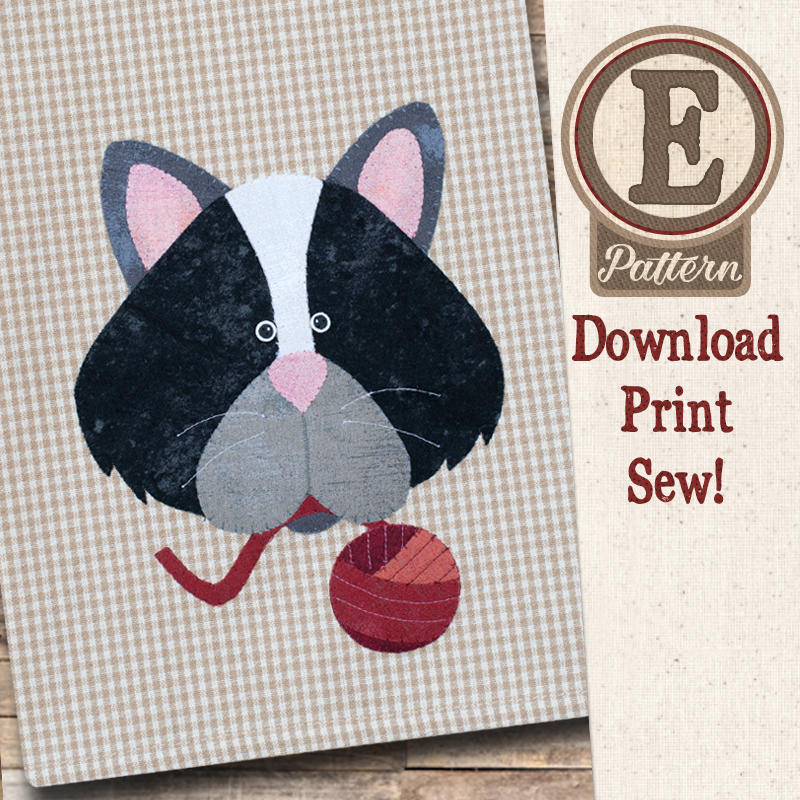 (TWB-EP44)   E-pattern P44 Cat and Yarn Patternlet