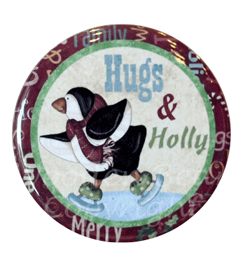 (TWBM04)   Penguin Hugs & Holly Magnet