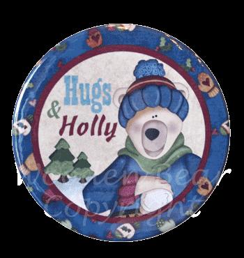 (TWBM08)   Polar Bear Hugs & Holly Magnet