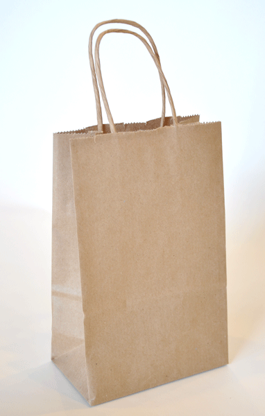(ULINE-7636)   10 pack Small Kraft Shopper with Handles