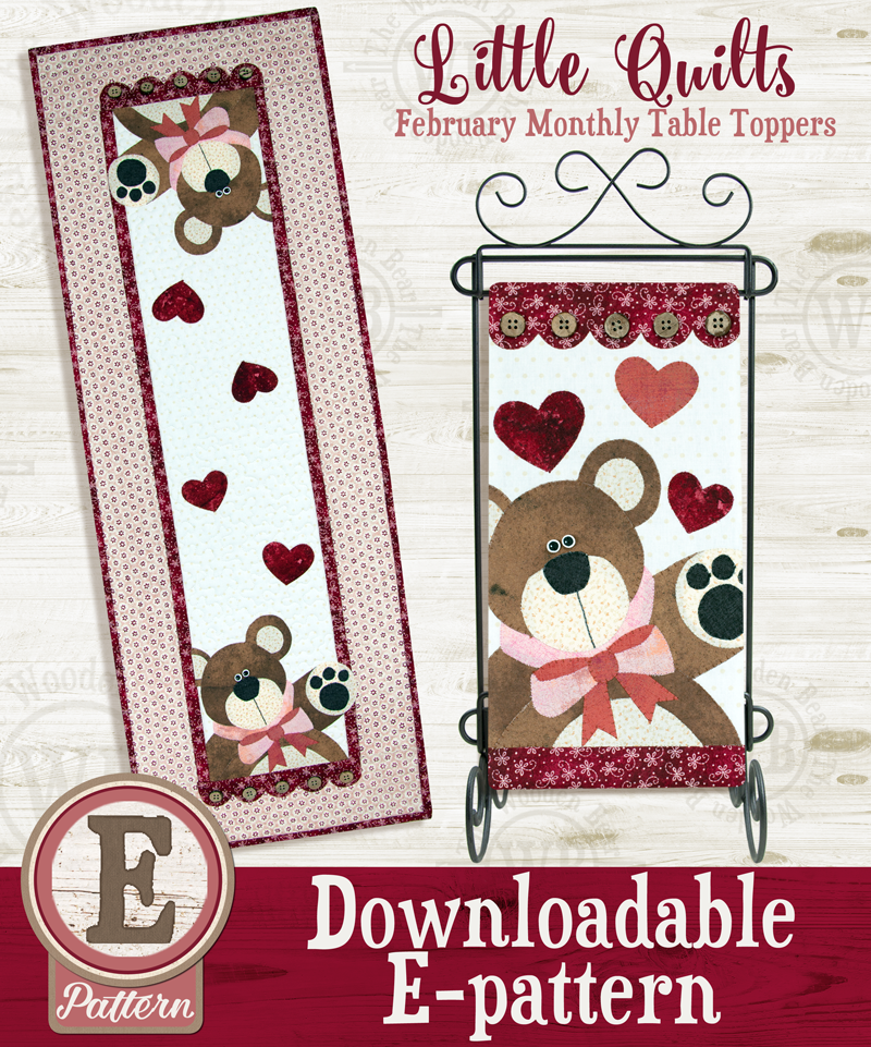 (TWB-ET02)   E-pattern T02 February Bear Hugs Monthly Table Topper
