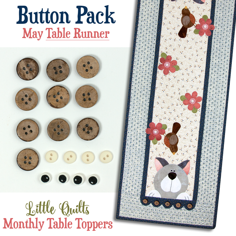 (JABC-BT05-2)   Button Pack May TABLE RUNNER
