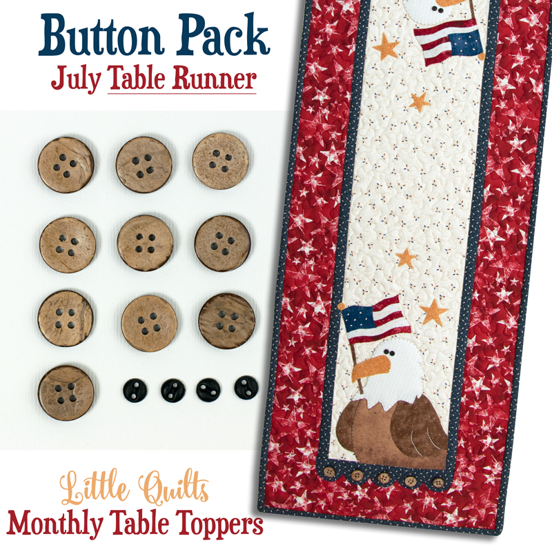 (JABC-BT07-2)   Button Pack July TABLE RUNNER