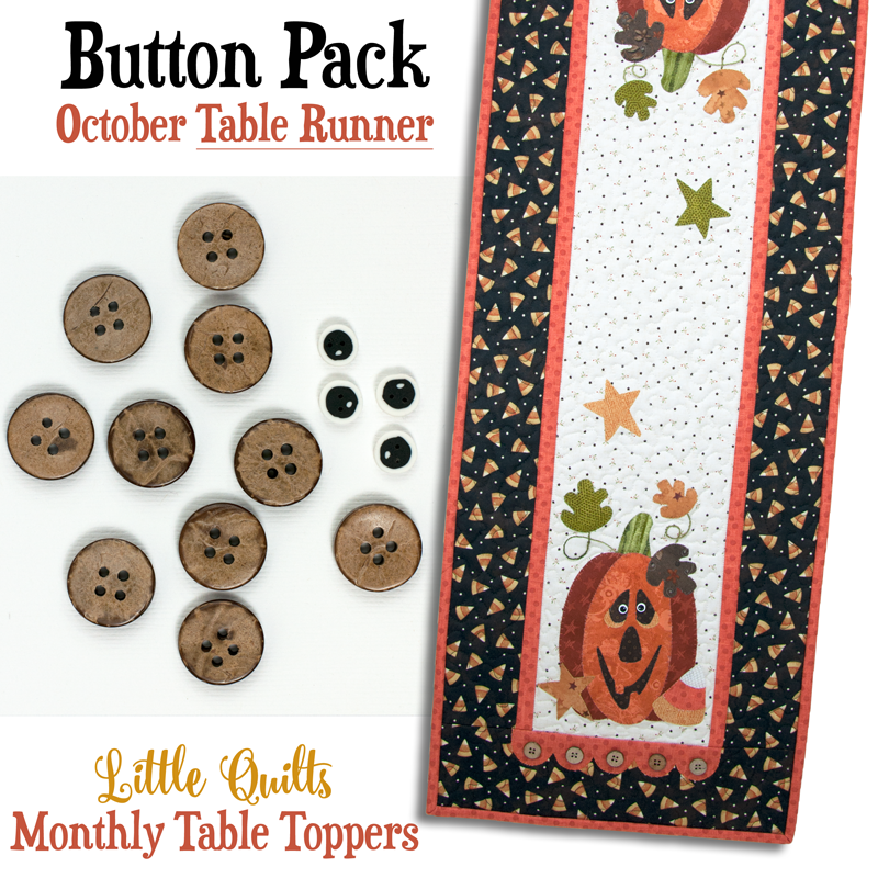 (JABC-BT10-2)   Button Pack October TABLE RUNNER
