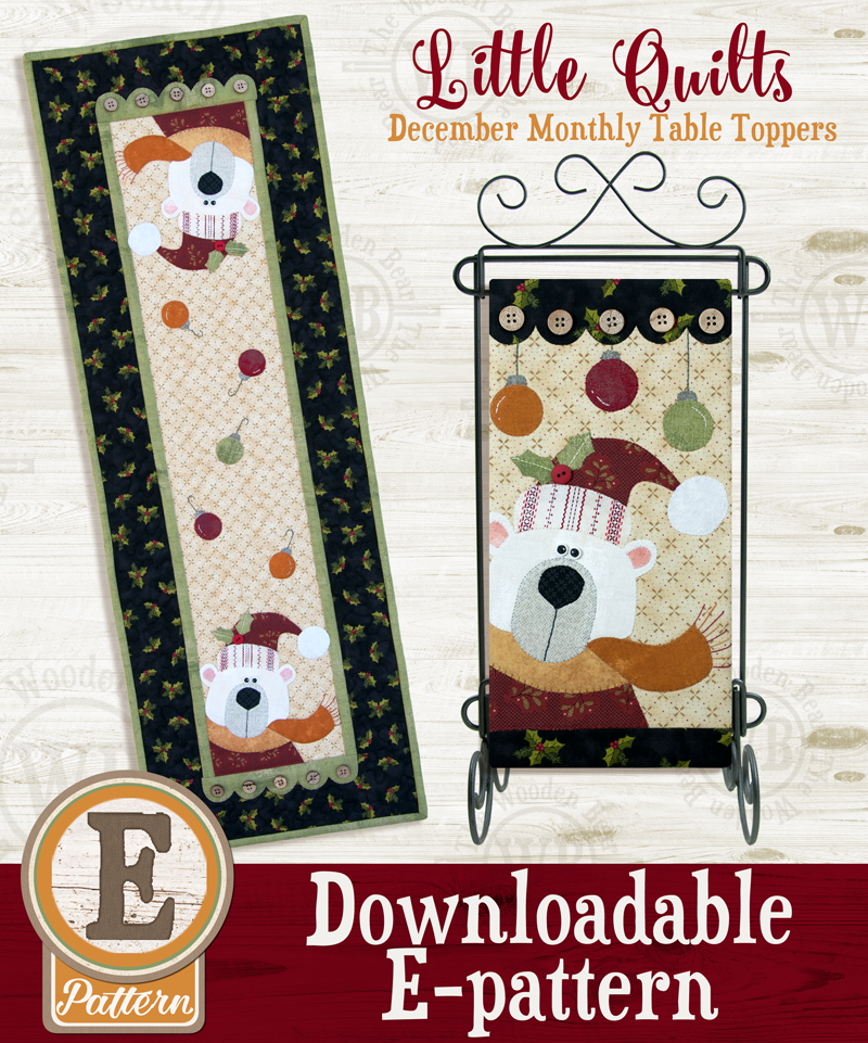 (TWB-ET12)   E-pattern T12 December White Christmas Monthly Table Topper