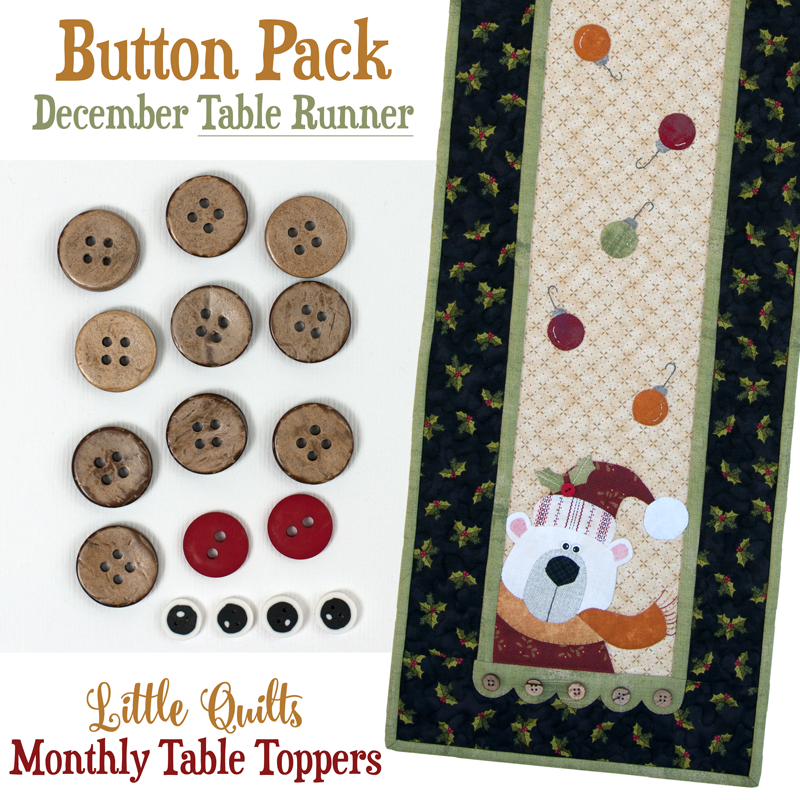 (JABC-BT12-2)   Button Pack December TABLE RUNNER