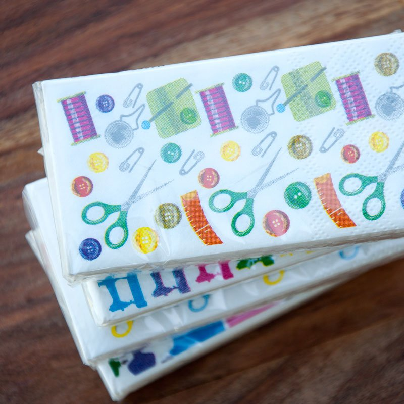 (CHK-N4357)   Pack of 4 Sewing Themed Pocket Tissue Packs