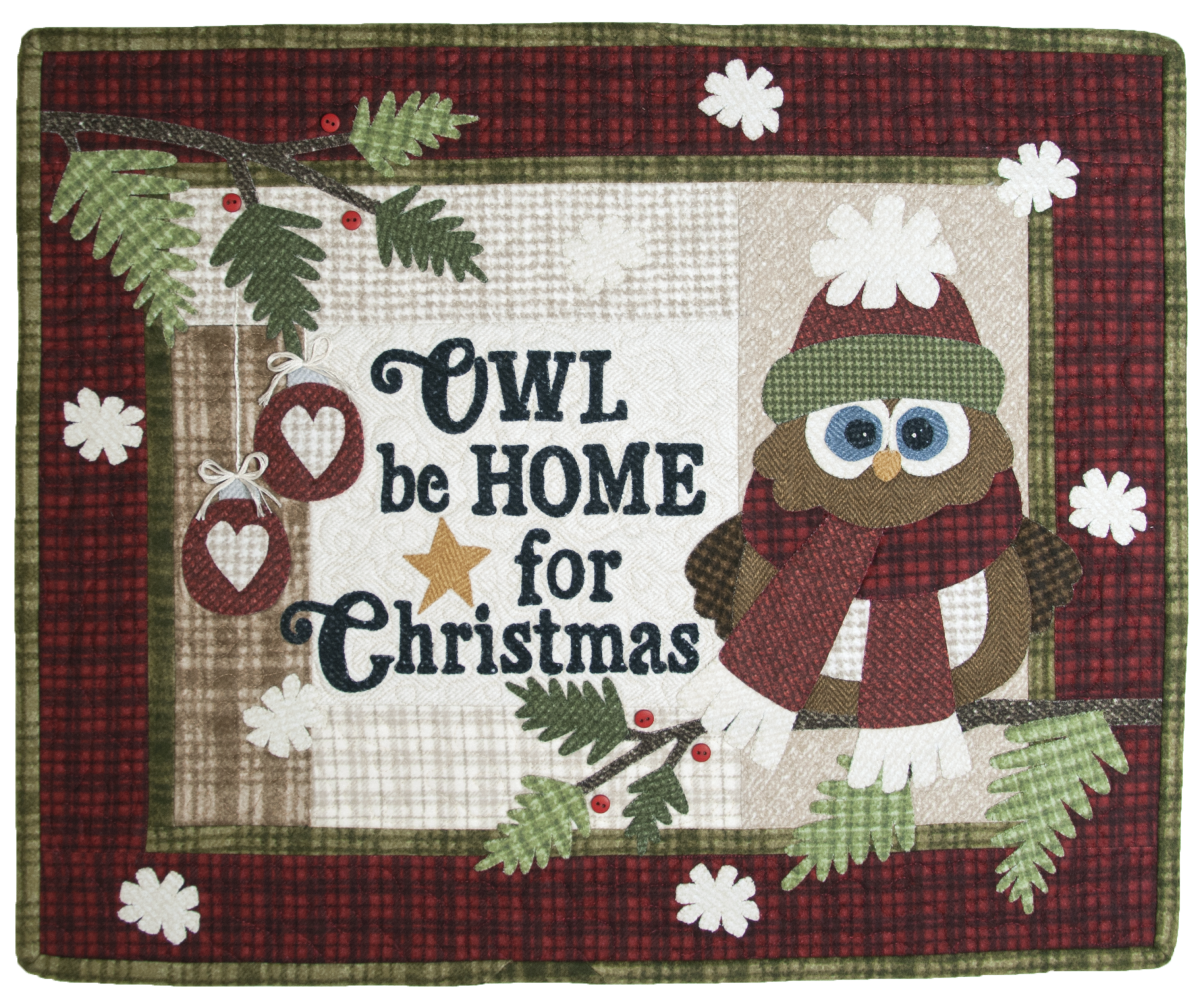Q02 Quilt Signs Owl be Home for Christmas : owl pattern quilt - Adamdwight.com
