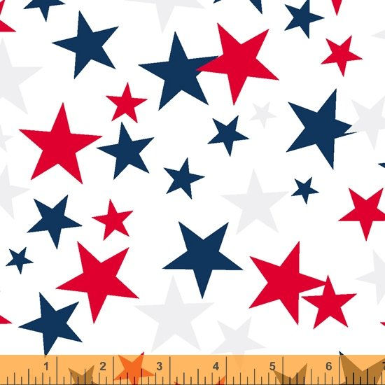 Patriotic Stars on White, 108 Wideback