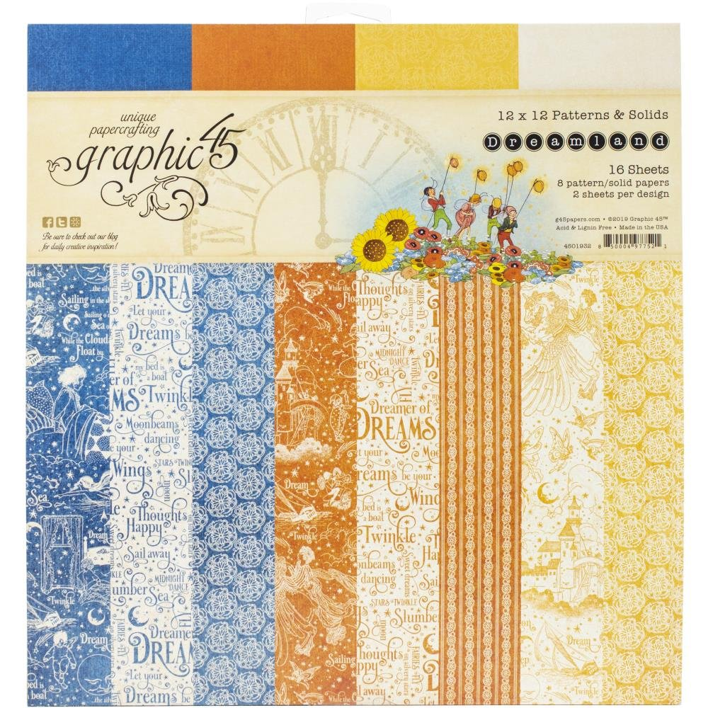 Graphic 45 Double-Sided Paper Pad 12X12 16/Pkg-Dreamland, 8 Designs/2 Each