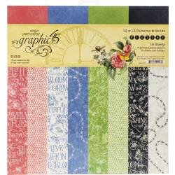 Graphic 45 Double-Sided Paper Pad 12X12 16/Pkg Flutter, 8 Designs/2 Each Discontinued*