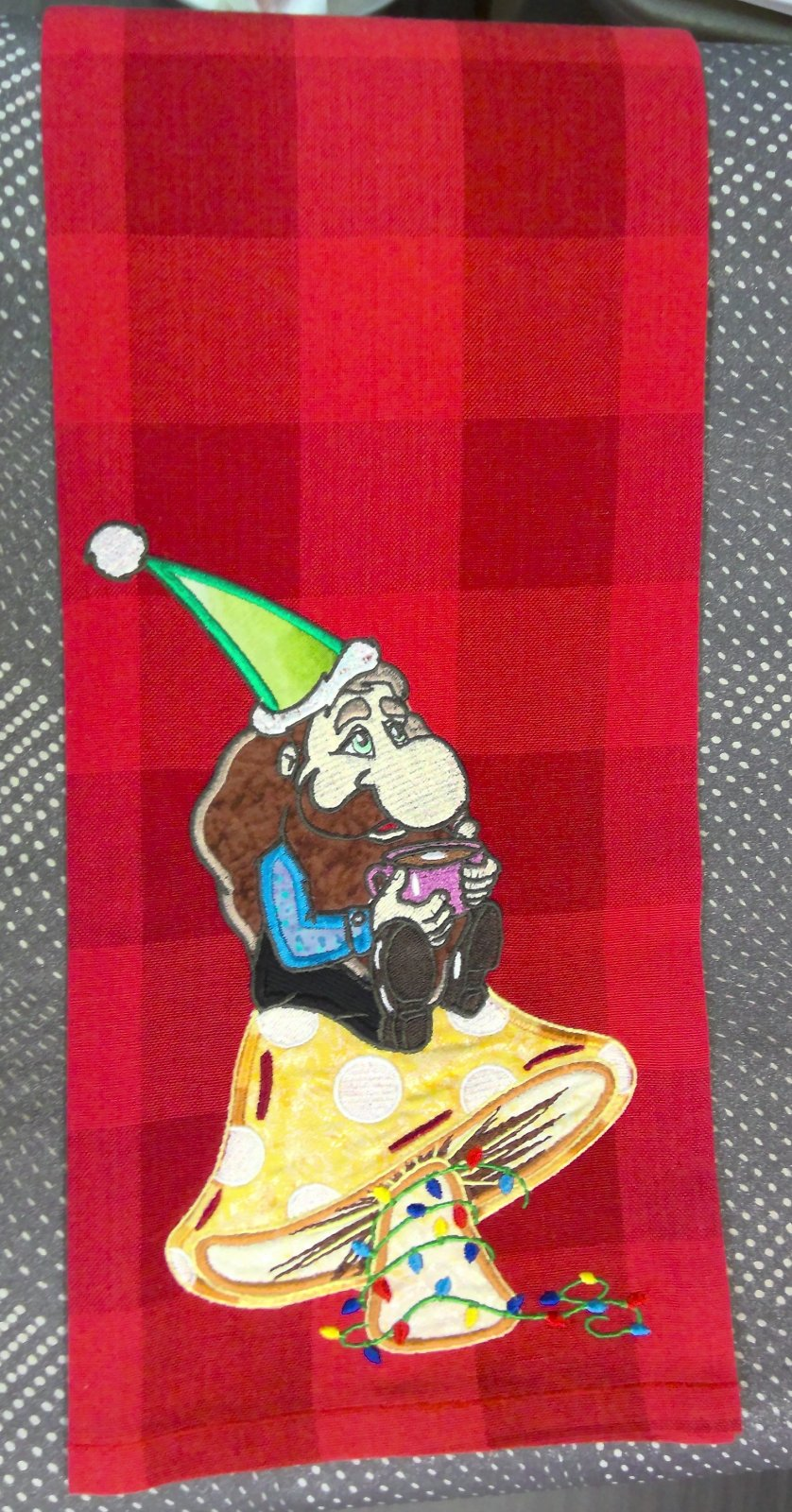 Red Buffalo Check Towel with an embroidered Elf on a Mushroom