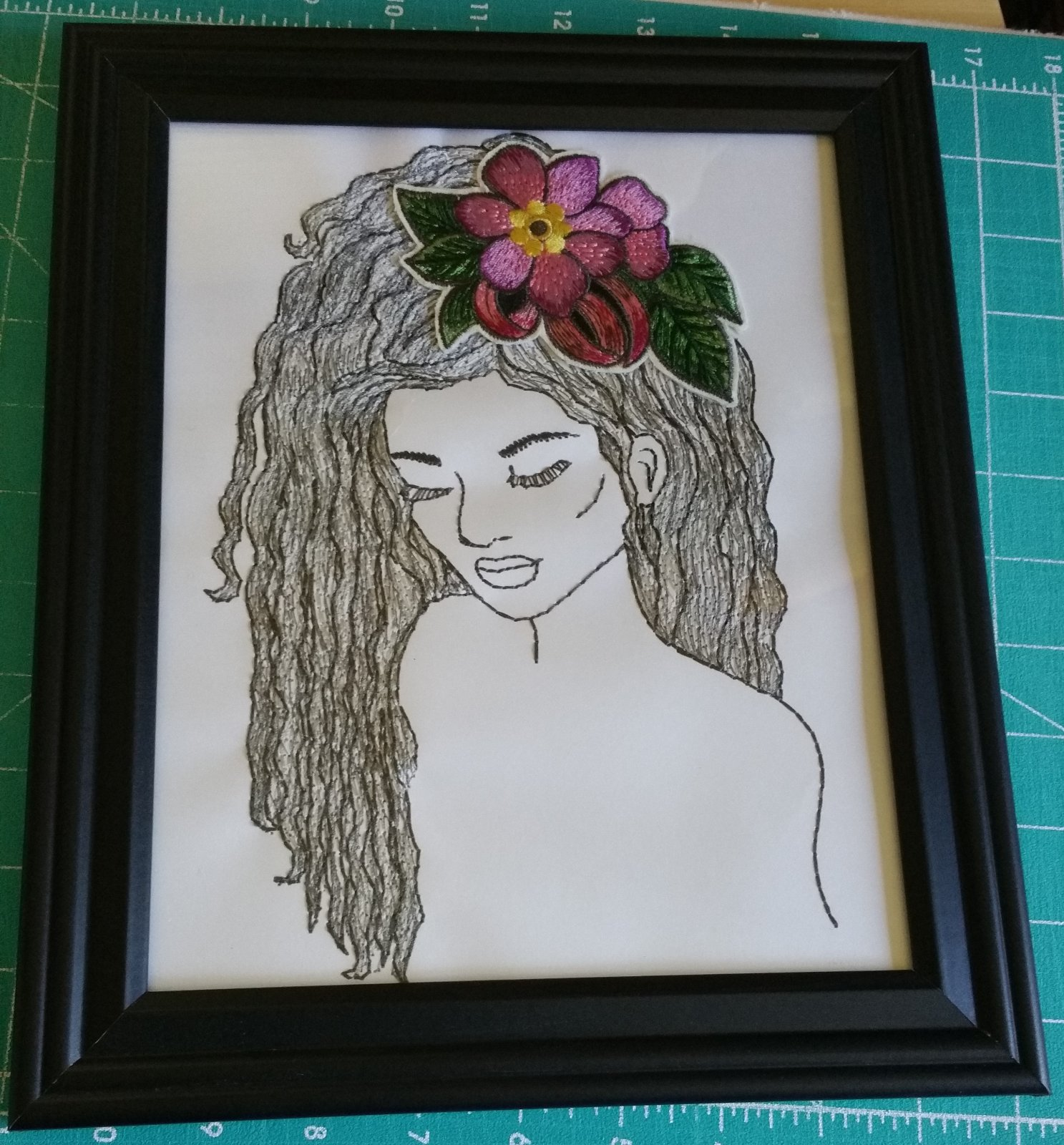 Dimensional Hairstyles Embroidered Picture 2 with frame