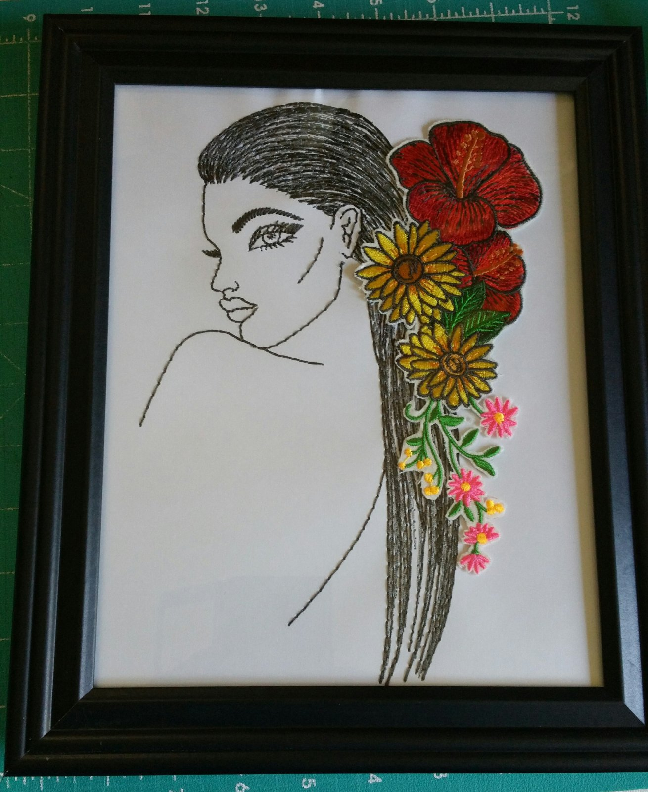 Dimensional Hairstyles Embroidered Picture 3 with frame