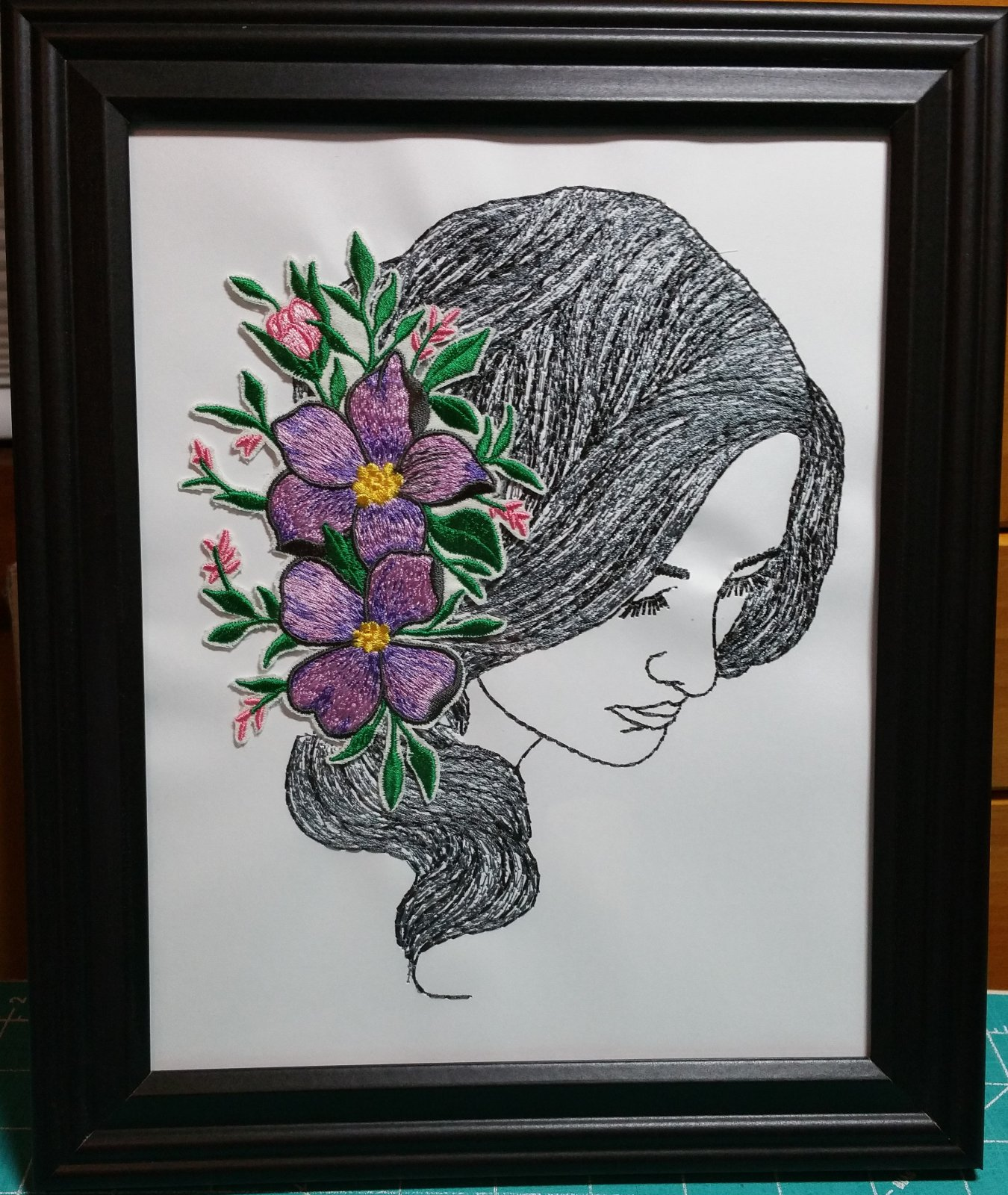 Dimensional Hairstyles Embroidered Picture 5 with frame