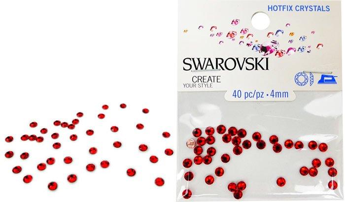 4 mm, 2078 SS 16 Light Siam A HF, Swarovski Hotfix Crystals